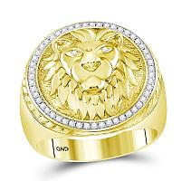 10kt Yellow Gold Mens Round Diamond Lion Head Mane Ring 1/3 Cttw