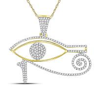 10kt Yellow Gold Mens Round Diamond Eye of Horus Charm Pendant 1/2 Cttw