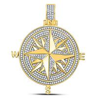 10kt Yellow Gold Mens Round Diamond Compass Rose Charm Pendant 1/2 Cttw