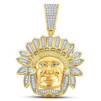 10kt Yellow Gold Mens Round Diamond Native American Indian Chief Charm Pendant 1/3 Cttw