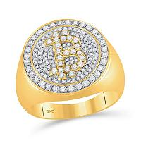 10kt Yellow Gold Mens Round Diamond Bitcoin Circle Cluster Ring 1.00 Cttw