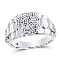 10kt White Gold Mens Round Diamond Circle Cluster Ring 1/5 Cttw