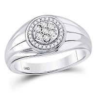 10kt White Gold Mens Round Diamond Circle Cluster Ring 1/10 Cttw