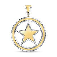 10kt Yellow Gold Mens Round Diamond Circle Star Charm Pendant 1-1/12 Cttw