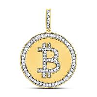 10kt Yellow Gold Mens Round Diamond Bitcoin Circle Charm Pendant 7/8 Cttw