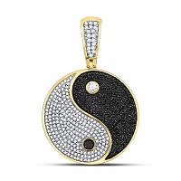 10kt Yellow Gold Mens Round Black Color Enhanced Diamond Yin Yang Charm Pendant 1-5/8 Cttw