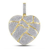 10kt Yellow Gold Mens Round Diamond Fractured Broken Heart Charm Pendant 1-1/2 Cttw