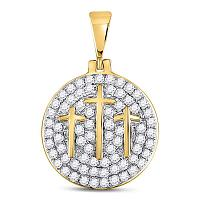 10kt Yellow Gold Mens Round Diamond Trinity Triple Cross Charm Pendant 1-1/2 Cttw