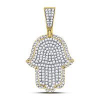 10kt Yellow Gold Mens Round Diamond Hamsa Hand of Fathima Charm Pendant 1-1/4 Cttw