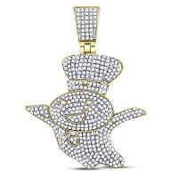 10kt Yellow Gold Mens Round Diamond Doughboy Charm Pendant 1-1/3 Cttw