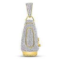 10kt Yellow Gold Mens Round Diamond Barber Clipper Trimmer Charm Pendant 1.00 Cttw