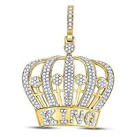 10kt Yellow Gold Mens Round Diamond King Crown Charm Pendant 1.00 Cttw