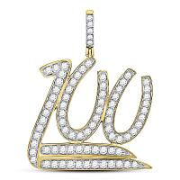 10kt Yellow Gold Mens Round Diamond 100 Hundred Emoji Charm Pendant 1-1/4 Cttw