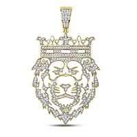 10kt Yellow Gold Mens Round Diamond King Lion Crown Charm Pendant 3/4 Cttw