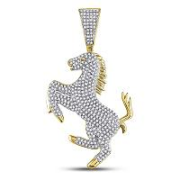 10kt Yellow Gold Mens Round Diamond Pony Horse Charm Pendant 1-1/12 Cttw
