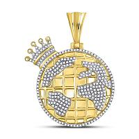 10kt Yellow Gold Mens Round Diamond Globe Crown King Charm Pendant 3/4 Cttw