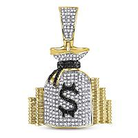 10kt Yellow Gold Mens Round Diamond Money Bag Stacks Charm Pendant 3/4 Cttw