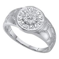 14kt White Gold Mens Round Diamond Cluster Nugget Ring 1/8 Cttw
