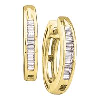 10kt Yellow Gold Womens Baguette Diamond Huggie Hoop Earrings 1/8 Cttw