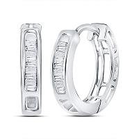 10kt White Gold Womens Baguette Diamond Huggie Hoop Earrings 1/6 Cttw