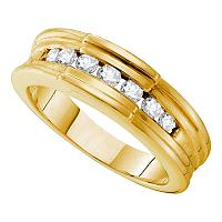 14kt Yellow Gold Mens Round Channel-set Diamond Ridged Edges Wedding Band 1/2 Cttw