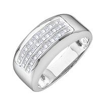 14kt White Gold Mens Princess Diamond Wedding Anniversary Band Ring 1/2 Cttw