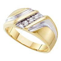 10kt Yellow Two-tone Gold Mens Round Diamond Wedding Anniversary Band Ring 1/10 Cttw