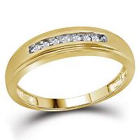 10kt Yellow Gold Mens Round Diamond Wedding Anniversary Band Ring 1/12 Cttw