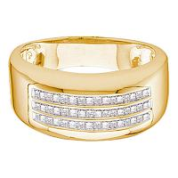 14kt Yellow Gold Mens Princess Diamond Wedding Anniversary Band Ring 1/2 Cttw