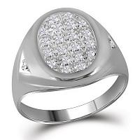 10kt White Gold Mens Round Diamond Oval Cluster Ring 1/4 Cttw