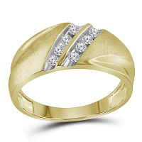 14kt Yellow Gold Mens Round Diamond 2-Row Wedding Band Ring 1/4 Cttw