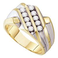 10kt Yellow Gold Mens Round Diamond Double Row Band Ring 1/2 Cttw