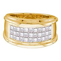 14kt Yellow Gold Mens Princess Diamond Comfort Wedding Anniversary Band Ring 1/2 Cttw
