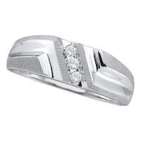 14kt White Gold Mens Round Diamond Wedding Band Ring 1/10 Cttw