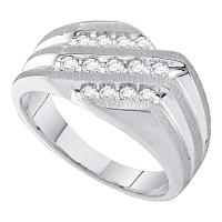 10kt White Gold Mens Round Diamond Band Ring 1/2 Cttw