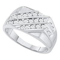 10kt White Gold Mens Round Pave-set Diamond Triple Row Cluster Ring 1/2 Cttw