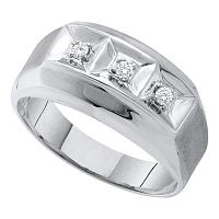 10k White Gold Mens Round 3-stone Diamond Brushed-Satin Masculine Wedding Band 1/10 Cttw
