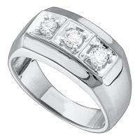 10kt White Gold Mens Round Diamond 3-stone Fashion Band Ring 1/2 Cttw