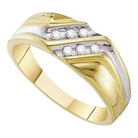10kt Yellow Gold Mens Round Diamond Double Row Two-tone Wedding Band Ring 1/8 Cttw