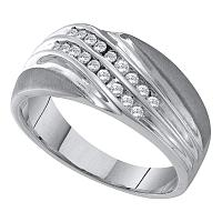 10kt White Gold Mens Round Channel-set Diamond Diagonal Double Row Wedding Band 1/4 Cttw