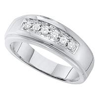 14kt White Gold Mens Round Diamond Single Row Polished Wedding Band Ring 1/4 Cttw