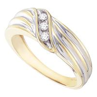 10kt Yellow Gold Mens Round Diamond Single Row Ribbed Two-tone Band Ring 1/8 Cttw