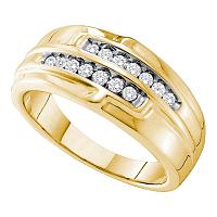 14kt Yellow Gold Mens Round Diamond Double Row Band 1/3 Cttw