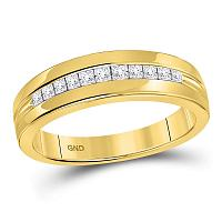 14kt Yellow Gold Mens Princess Diamond Wedding Band Ring 1/2 Cttw - Size 11
