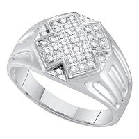 10kt White Gold Mens Round Diamond Cross Cluster Ring 1/4 Cttw