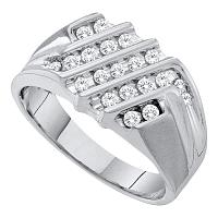 10kt White Gold Mens Round Diamond Stripe Cluster Band Ring 1/2 Cttw