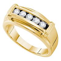 14kt Yellow Gold Mens Round Diamond Single Row Ridged Edges Wedding Band Ring 1/2 Cttw