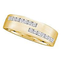 14kt Yellow Gold Mens Round Diamond Double Row Wedding Band Ring 1/2 Cttw