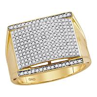 10kt Yellow Gold Mens Round Pave-set Diamond Rectangle Convex Cluster Ring 7/8 Cttw