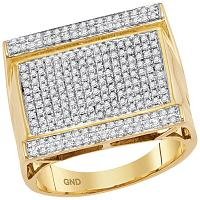 10kt Yellow Gold Mens Round Diamond Rectangle Cluster Ring 7/8 Cttw